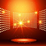 Beautiful podium with many lights. Vector Royalty Free Stock Images