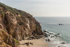 Beautiful Point Dume vista in winter, Malibu, California. Beautiful Point Dume coastal vista in winter, Malibu, Southern California Royalty Free Stock Photos