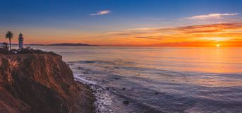 Beautiful Point Vicente Lighthouse at Sunset Panorama. Beautiful panoramic view of Point Vicente Lighthouse atop the steep cliffs of Rancho Palos Verdes stock image