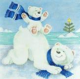 Beautiful  polar bears pattern on napkin Stock Photos