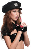 Beautiful police woman in sexy costume Stock Photos