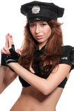 Beautiful police woman in sexy costume Royalty Free Stock Photos