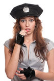 Beautiful police woman in sexy costume Royalty Free Stock Images