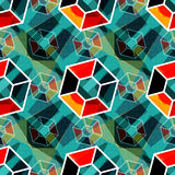 Beautiful polygons Abstract seamless geometrical pattern on a green background. EPS 10 vector royalty free stock illustration Stock Photos