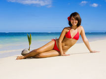 A beautiful Polynesian girl in  bikini Stock Image