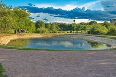 Beautiful pond in the museum-reserve Kolomenskoye in Moscow stock photo