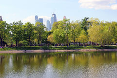 Beautiful pond in park. Beautiful pond near park with amazing view on skyscrapers in Moscow Royalty Free Stock Photography