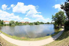 Beautiful Pond in Telc, Czech Republic royalty free stock photography