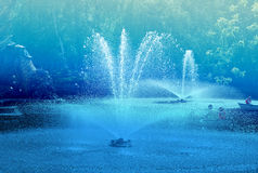Beautiful ponds with fountains Stock Photography