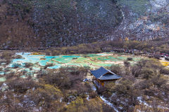 Beautiful ponds in Huanglong National park of Sichuan China Royalty Free Stock Image