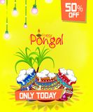 Beautiful Pongal Illustration for Offer and Sale on the occasion of Happy Pongal.  Royalty Free Stock Image