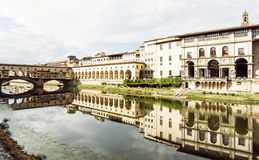 Beautiful Ponte Vecchio, Vasari Corridor and Uffizi Gallery are Stock Images