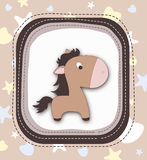Beautiful pony character in frame Royalty Free Stock Images