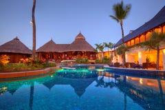 Beautiful pool at Le Touessrock, Mauritius stock photo
