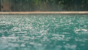 Raindrops fall into the water. Beautiful pool water surface under the rain. Slow motion. Beautiful pool water surface under the rain. Slow motion stock video