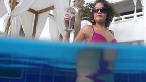 Beautiful pool woman stock video