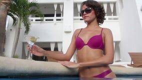 Beautiful pool woman stock video footage