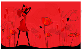 Beautiful poppy field. Vector poppy field illustration with beautiful girl Stock Photo