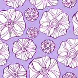 Beautiful Poppy Flowers set, Colorful Vector seamless pattern. Royalty Free Stock Photography