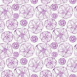 Beautiful Poppy Flowers set, Colorful Vector seamless pattern. Royalty Free Stock Images