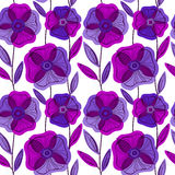 Beautiful Poppy Flowers set, Colorful Vector seamless pattern. Stock Image