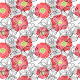 Beautiful Poppy Flowers set, Colorful Vector seamless pattern. Poppy Flowers set, Colorful Vector seamless pattern Royalty Free Stock Image