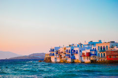 Beautiful popular sights in Mykonos Island in soft evening light on Greece, Cyclades. Little Venice in Mykonos Island Greece Cyclades Stock Photography