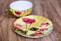 Beautiful porcelain cup and  plate Stock Image