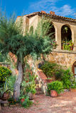 Beautiful porch in the ancient town in Tuscany stock image