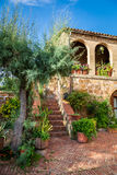 Beautiful porch in the ancient town in Tuscany stock photography