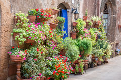 Beautiful porch decorated with flowers in Tuscany royalty free stock photo