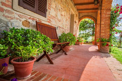Beautiful porch in front of an home in Tuscany Royalty Free Stock Photos