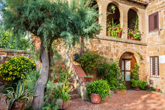 Beautiful porch in a small city in Tuscany Royalty Free Stock Image