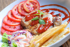 Beautiful pork steak with vegetables Royalty Free Stock Image