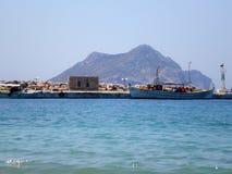 Small port of Aegiali village in Amorgos island, Cyclades, Greece. stock image