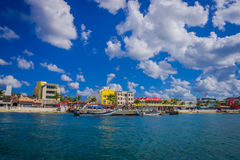 Beautiful port of Cozumel with some boats and buildings behind Stock Image