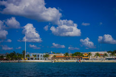 Beautiful port of Cozumel with some boats and buildings behind Royalty Free Stock Images