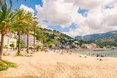 Beautiful Port de Soller in Mallorca. stock photo