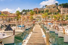 Beautiful Port de Soller in Mallorca. stock image