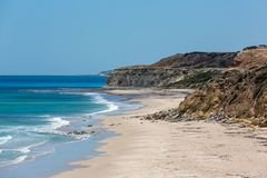 The beautiful Port Willunga beach with turquoise waters on a calm sunny day on 15th November 2018. The beautiful Port Willunga beach with turquoise waters on a stock photos