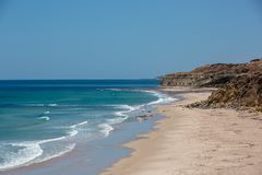 The beautiful Port Willunga beach with turquoise waters on a calm sunny day on 15th November 2018. The beautiful Port Willunga beach with turquoise waters on a stock image