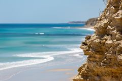 The beautiful Port Willunga beach with turquoise waters on a calm sunny day on 15th November 2018. The beautiful Port Willunga beach with turquoise waters on a royalty free stock photo