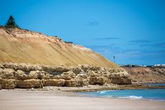 The beautiful Port Willunga beach with turquoise waters on a calm sunny day on 15th November 2018. The beautiful Port Willunga beach with turquoise waters and royalty free stock images