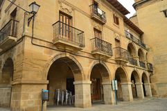 Beautiful Portals With Arches In The Plaza Mayor On A Cloudy Day In Briones. Architecture, Art, History, Travel. December 27, 2015. Briones, La Rioja, Spain Stock Photography