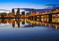 Portland city view in night time Royalty Free Stock Photos
