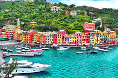 The beautiful Portofino with colorful houses and villas, luxury yachts and boats . Liguria, Italy, Europe Royalty Free Stock Photo