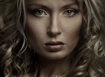 Beautiful portrait. Of a young woman, dark light royalty free stock photo
