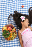 Beautiful portrait of Asian little girl in summer Royalty Free Stock Images