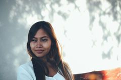 Beautiful portrait of Asian woman with long hair. Beautiful portrait of Asian woman smiling Stock Photo