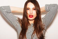 Beautiful portrait of beautiful woman with bright make-up Royalty Free Stock Photo